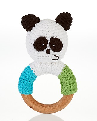 Pebble Wooden Teether Rattle - Panda - Fair Trade Rattles