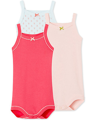 Petit Bateau Baby Bodysuits With Straps – Pack of 3! - 100% cotton Short Sleeves Bodies