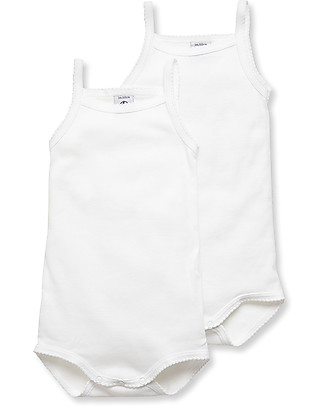 Petit Bateau Baby Bodysuits With Straps, White – Pack of 2! Short Sleeves Bodies