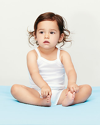Petit Bateau Baby Bodysuits With Straps, White - Pack of 2! Short Sleeves Bodies