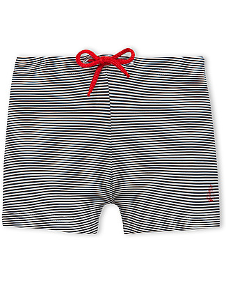 Petit Bateau Baby Boys' Milleraies-Striped Swim Trunks, Navy/White Swimsuits