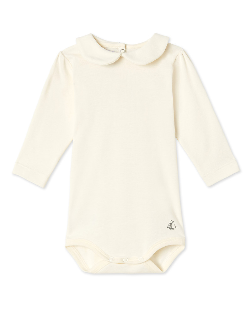 7db0a32f7 Petit Bateau Baby Girl Collar Long Sleeved Bodysuit, White Rompers