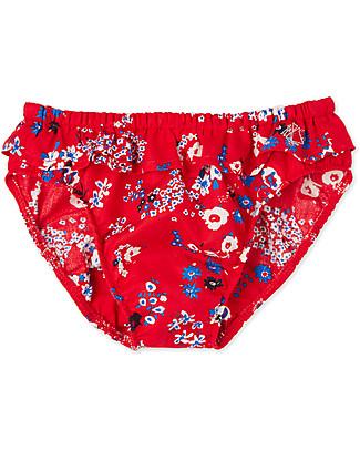 Petit Bateau Baby Girls' Swim Panties, Red/Flowers Swimming Trunks