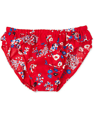 Petit Bateau Baby Girls' Swim Panties, Red/Flowers Swimming Trunks