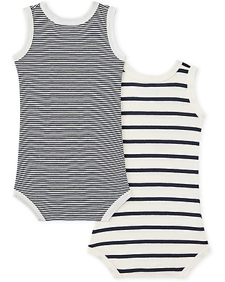 Petit Bateau Baby Sleeveless Bodysuit, 2-pack - Black/Blue Stripes - Cotton Short Sleeves Bodies