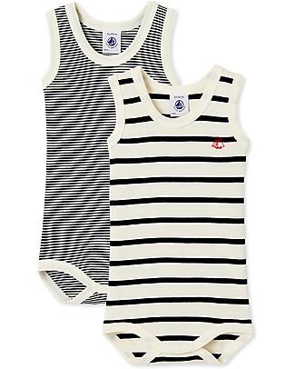 Petit Bateau Baby Sleeveless Bodysuit, 2-pack - Blue/White Stripes - 100% cotton Short Sleeves Bodies