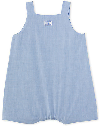 Petit Bateau Baby Sleeveless Romper, Blue Short Rompers