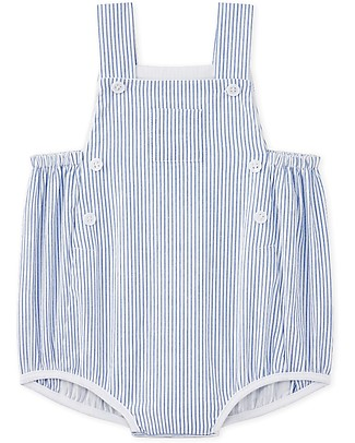 Petit Bateau Baby Sleeveless Romper with Stripes, Blue - Fresh and Comfortable! Short Rompers