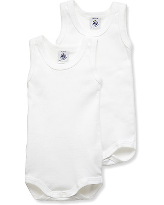 Petit Bateau Baby Slevelees Bodysuits, White – Pack of 2! Short Sleeves Bodies