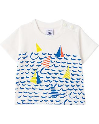 Petit Bateau Boats T-Shirts, White/Blue - 100% cotton jersey T-Shirts And Vests