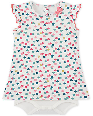 Petit Bateau Bodysuit/Dress with Dots, 100% Cotton - Perfect for Summer! Short Sleeves Bodies