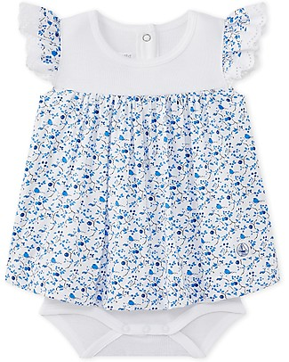 Petit Bateau Bodysuit/Dress with Flowers and Birds, 100% Cotton - Perfect for Summer! Short Sleeves Bodies