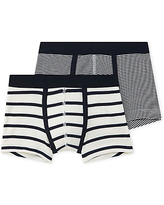 Petit Bateau Boy's Boxers, 2-pack, Black and White - 100% Cotton Briefs
