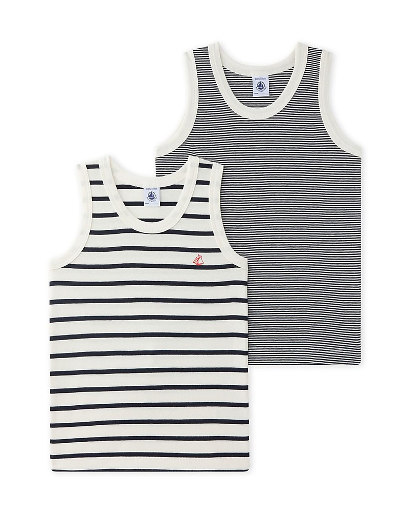 Pink//White-5 Years Toddler//Kid Petit Bateau Striped Tank Tops