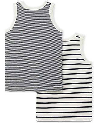 Petit Bateau Boy's Vest, 2-pack, Black and White Stripes - 100% Cotton Vests