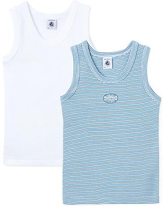 Petit Bateau Boy's Vest, 2-pack, White/Stripes – 100% Cotton Vests