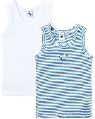 Petit Bateau Boy's Vest, 2-pack, White+Stripes - 100% Cotton Vests