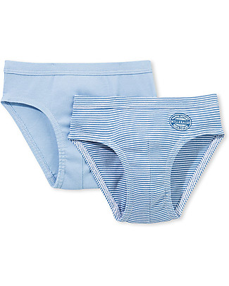 Petit Bateau Boy's Panties, 2-pack, Blue/Stripes - 100% cotton Briefs