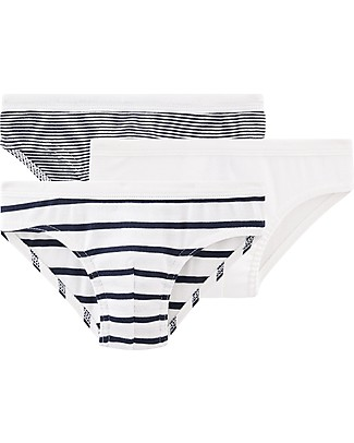 Petit Bateau Boy's Panties, 3-pack, Black and White - 100% cotton Briefs