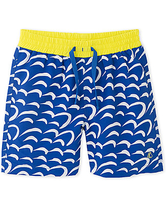Petit Bateau Boy's Swim Shorts, Dark Blue/Yellow Swimming Trunks