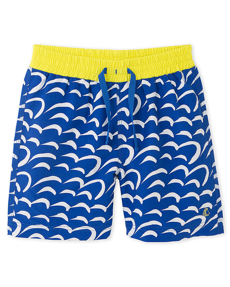 Blue//White-4 Years Petit Bateau Striped Swim Shorts Toddler Kids