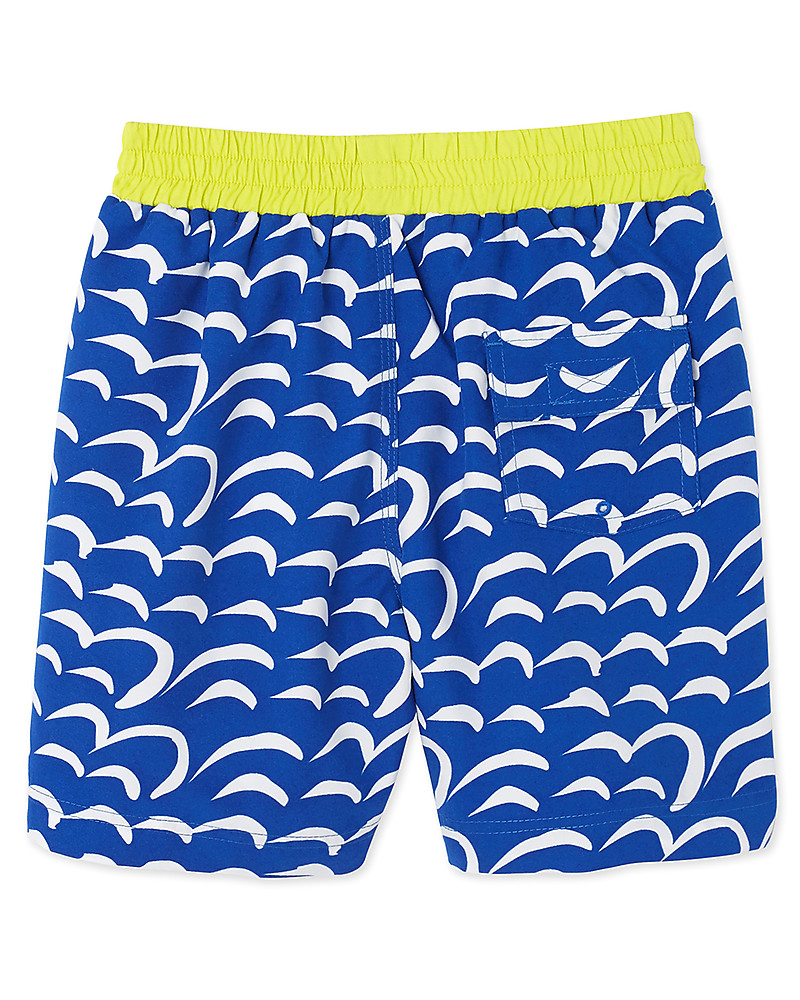 01c8b341c5e9d Petit Bateau Boy's Swim Shorts, Dark Blue/Yellow Swimming Trunks