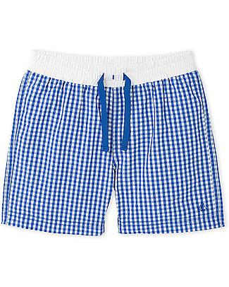 Petit Bateau Boy's Swim Shorts, White/Blue Checks Swimming Trunks
