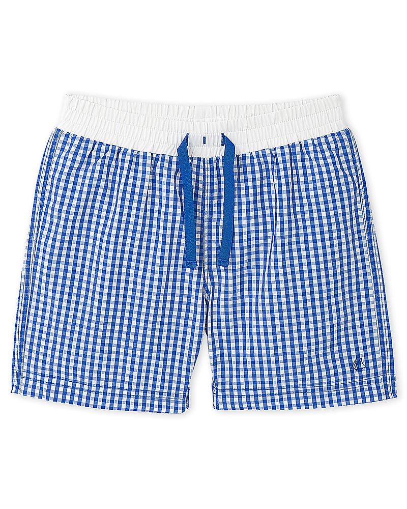 0b7226d37b88d Petit Bateau Boy's Swim Shorts, White/Blue Checks Swimming Trunks