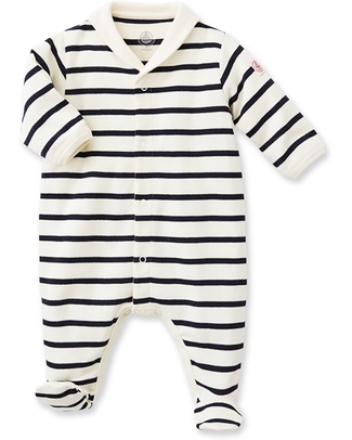 Petit Bateau Breton Footed Coveralls - White and Blue 100% Cotton Babygrows
