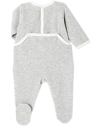 Petit Bateau Bunnies Long Sleeved Onepiece, Grey - Velour Babygrows