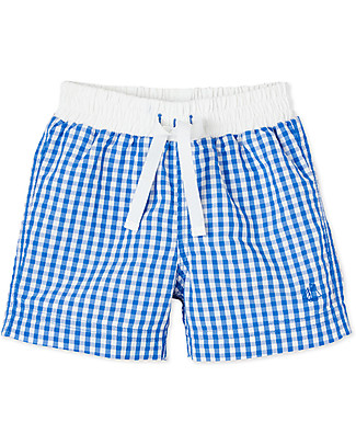 Petit Bateau Checks Boy's Swim Shorts, White/Blue Swimming Trunks