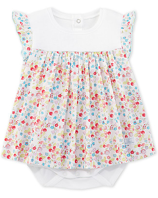Petit Bateau Ci Claire, Bodysuit/Dress with Flowers - 100% cotone Short Sleeves Bodies