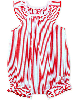 Petit Bateau Girl's Bloomer Onepiece with Frills, Red/White - 100% cotton Short Rompers