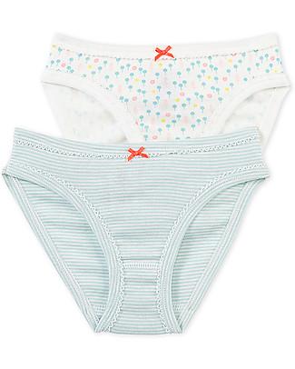 Petit Bateau Girl's Panties, 2-pack, Flowers/Stripes – 100% Cotton Briefs