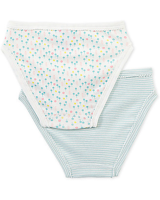 Petit Bateau Girl's Panties, 2-pack, Flowers/Stripes – 100% Cotton Briefs