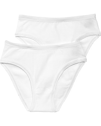 Petit Bateau Girl's Panties, 2-pack, White – 100% Cotton Briefs