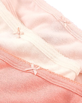 Petit Bateau Girl's Panties, 3-pack, Pink - Cotton and Linen Briefs