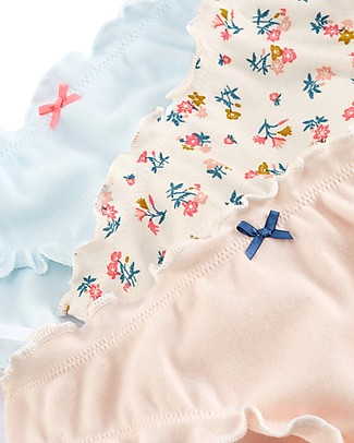 Petit Bateau Girl's Panties with Frills, 3-pack, Flowers - 100% cotton Briefs