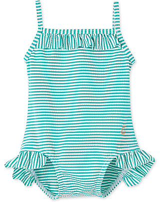 Petit Bateau Girl's Swimsuit with Double Frills, Green/White Stripes Swimsuits