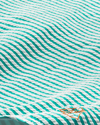 Petit Bateau Girl's Swimsuit with Frills, Green/White Stripes Swimsuits