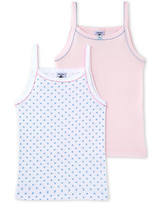 Petit Bateau Girl's Vest, 2-pack, Pink/Dots – 100% Cotton Vests