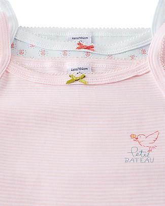 Petit Bateau Girl's Vest, 2-pack, Stripes/Flowers – 100% Cotton Vests