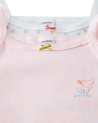 Petit Bateau Girl's Vest, 2-pack, Stripes+Flowers - 100% Cotton Vests