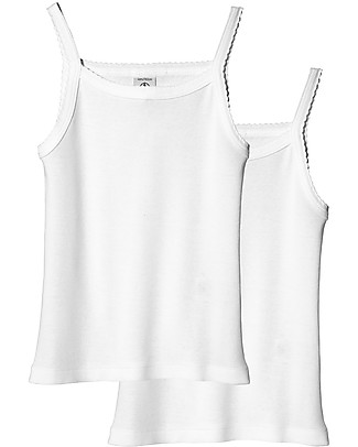 Petit Bateau Girl's Vest, 2-pack, White – 100% Cotton Vests