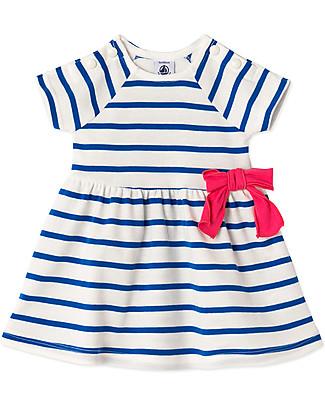 Petit Bateau Girl's Stripy Dress, White/Navy - 100% Cotton Dresses