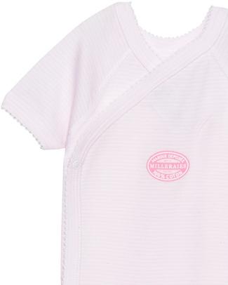 Petit Bateau Kimono Bodysuit - Pink Needlecord - 100% Cotton Short Sleeves Bodies