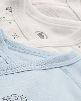 Petit Bateau Long-Sleeved Kimono Bodysuits (Set of 3), Various Colours - 100% Cotton Short Rompers