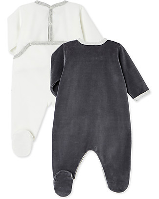 Petit Bateau Set of 2 Long-Sleeved Velour Bodysuits, Baby Boy - White + Navy Babygrows