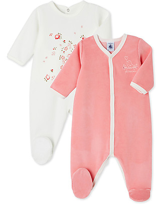 Petit Bateau Set of 2 Long-Sleeved Velour Bodysuits, Baby Girl - White + Pink Babygrows