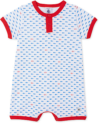 Petit Bateau Short Onepiece with Fishes - 100% cotton Short Sleeves Bodies